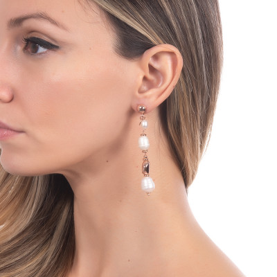 Rose gold plated earrings with natural baroque pearls