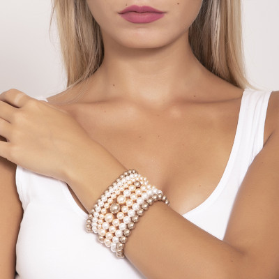 The cuff band soft with Swarovski beads bronze, peach and white