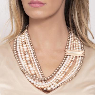 Multi-Strand necklace with drapery of Swarovski beads bronze, peach and white