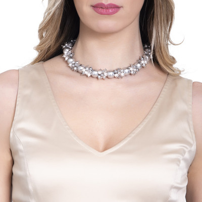 Necklace with a bouquet of Swarovski gray pearls and zircons