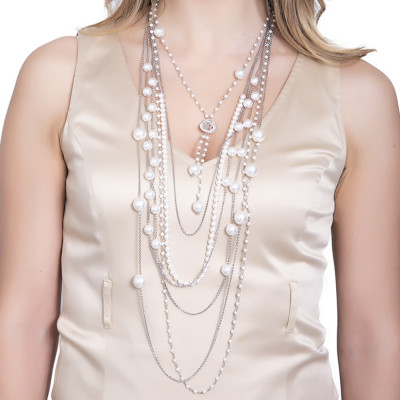 Multi-strand necklace degrad with Swarovski pearls and zircons