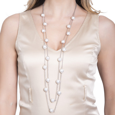 Two-strand necklace in silver with Swarovski pearls and zircons