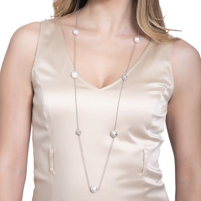 Rhodium-plated necklace with Swarovski pearls, diamond spheres and zircons