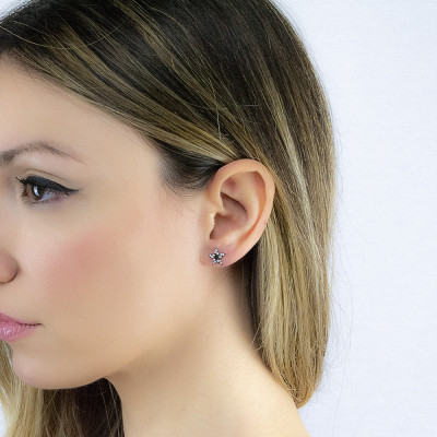 Rhodium-plated lobed earrings with star