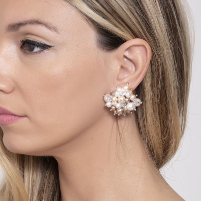 Earrings with composition and crystals Swarovski beads from gold tones
