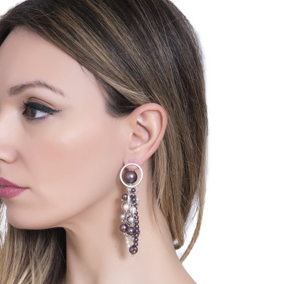 Earrings with Swarovski burgundy pearls and gray pendants and zircons