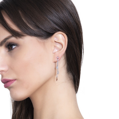 Earrings with a tuft pendant with stars and zircons