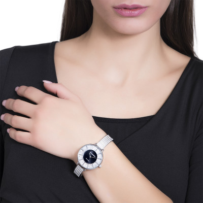 Silver watch with semi-rigid Swarovski strap