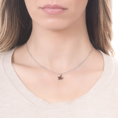 Steel necklace with pendant star