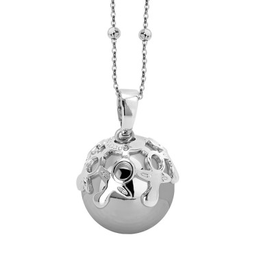 Necklace with sound pendant and cup decorated with pacifiers