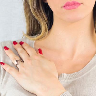 Pink asymmetrical ring with Swarovski