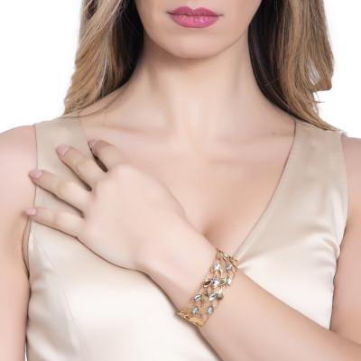 Golden band bracelet with grain and Swarovski decorations