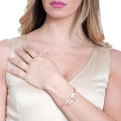 Rosé bracelet with central wheat and Swarovski