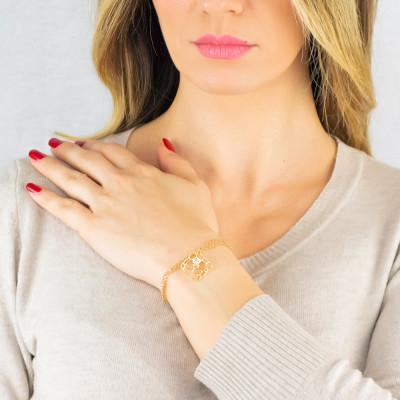 Double golden thread bracelet with mesh and Swarovski texture pendant