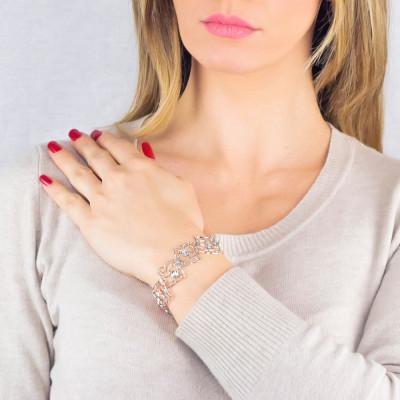 Modular rhodium-plated bracelet with mesh and Swarovski weave