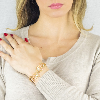 Modular golden bracelet with mesh and Swarovski weave