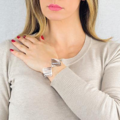 Modular rhodium-plated bracelet with diamonds of Swarovski crystals