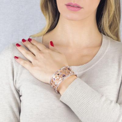Bracciale rigido rosato a fascia con crystal rock crystal