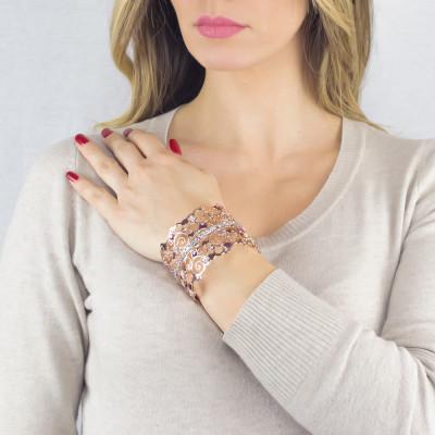 Bracciale rigido a fascia rosato con cristalli Swarovski