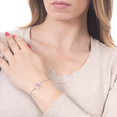 Bracelet with double zircon base and fuchsia cabochon