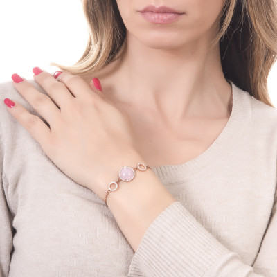 Bracelet with cubic zirconia and light pink central cabochon