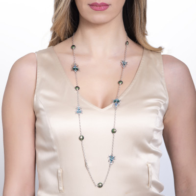 Long necklace with scarabs and Swarovski pearls