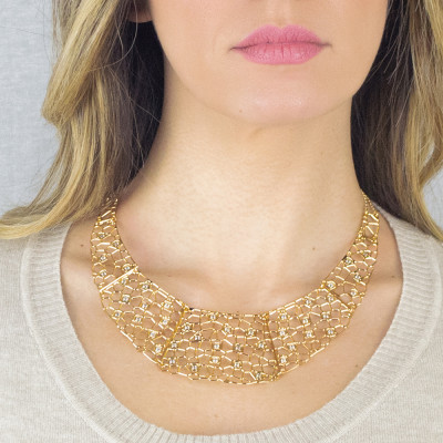 Semi-rigid golden necklace with mesh and Swarovski weave