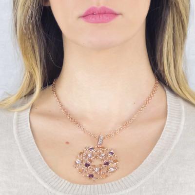 Collana rosata con rosone in Swarovski crysral rock crystal