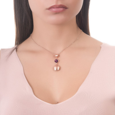 Necklace with scratched pendants and amethyst crystal