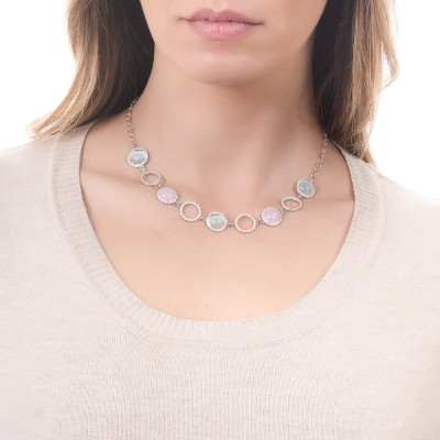 Necklace with cubic zirconia, light pink cabochon and flecked sky blue