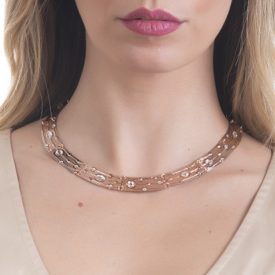 Semi-rigid necklace with Swarovski crystal