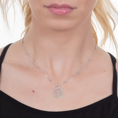 Rhodium-plated necklace with tree of life pendant