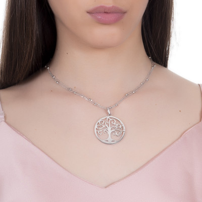 Rhodium-plated necklace with tree of life pendant and zircons