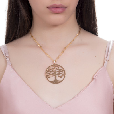 Golden necklace with maxi pendant and tree of life