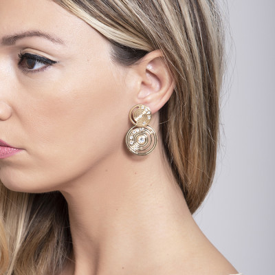 Earrings Gold Plated yellow with pendant of inspiration Maya and Swarovski