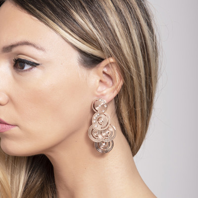 Earrings with circular pendants gold plated pink of Etruscan inspiration and Swarovski