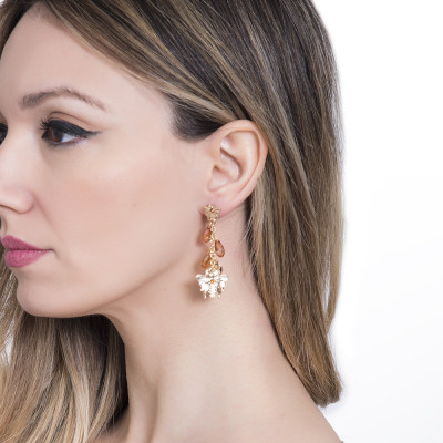 Dangle earrings with bee and Swarovski crystals