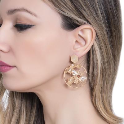 Hoop earrings with beehive decorations