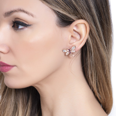 Stud earrings with dragonfly and Swarovski