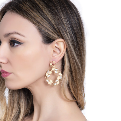 Golden dangle earrings with wheat and Swarovski decorations