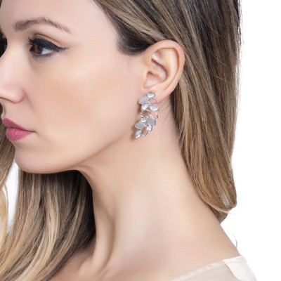 Rhodium-plated earrings with a pendant of wheat and Swarovski