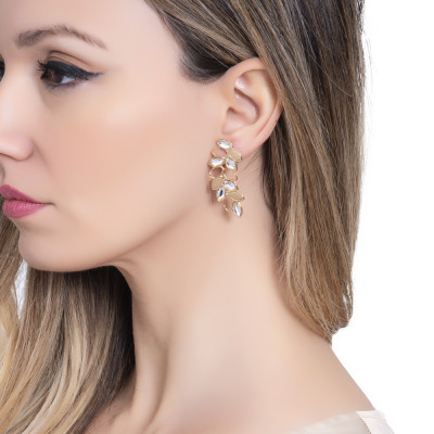 Golden earrings with a pendant of wheat and Swarovski