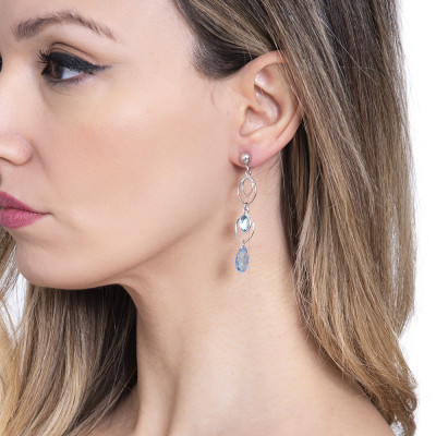 Earrings with hanging wheat grains and aquamarine Swarovski
