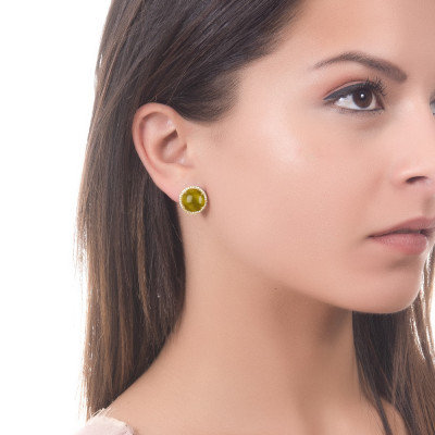 Lobe earrings with cubic zirconia and green olivine cabochon
