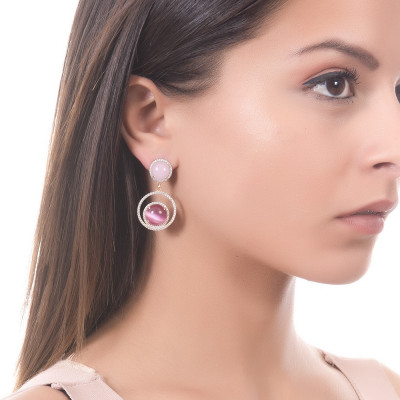 Earrings with cubic zirconia and light pink and fuchsia cabochon