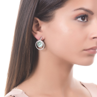Earrings with a cubic zirconia and water green cabochon