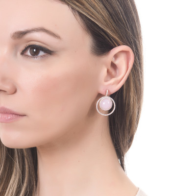 Earrings with zircons and light pink cabochons