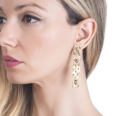 Modular earrings with pink Swarovski