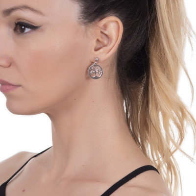 Rhodium-plated earrings with pendant tree of life