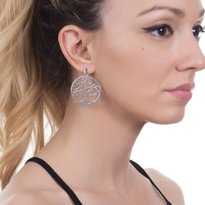 Earrings with maxi pendant and zircons